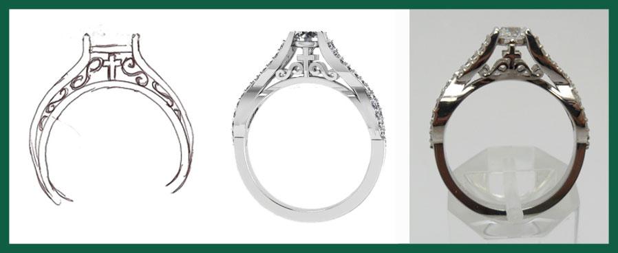 Custom Jewelry Process - Drawing | Computer Model | Final Piece